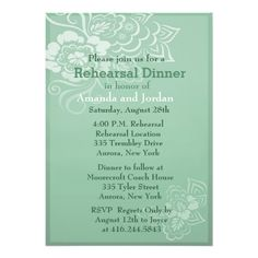 Mint Lace and Butterfly Rehearsal Dinner Personalized Announcements