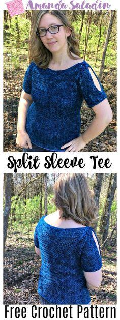 Split Sleeve Tee - Free Crochet Pattern - Amanda Saladin