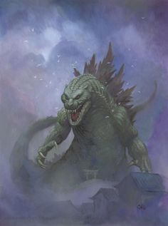 Godzilla oil painting for 2014 San Jose Big WOW Comic Fest by Frank Cho
