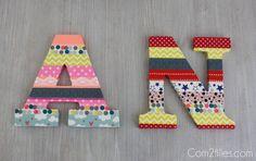 Voici un tuto très simple pour réaliser un cadeau pour une chambre d'enfant. Une lettre en bois et du masking tape, le tour est joué.