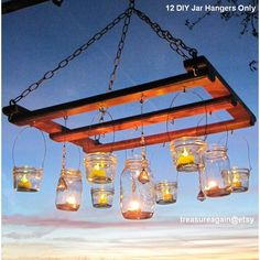 Mason Jar Chandelier DIY Candles Lanterns Luminaries 12 Wide Mouth... ($38) ❤ liked on Polyvore