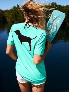 Campus Short Sleeve Tee in Seafoam Glow $28.95- PINK - Victoria's Secret