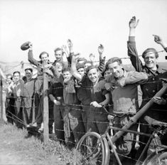 Liberated Allied POWs at Stalag 11B near Fallingbostel, Germany, 16 April 1945.