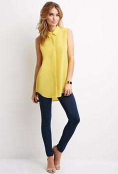 Sleeveless Silk Shirt | Forever 21 - 2000053416