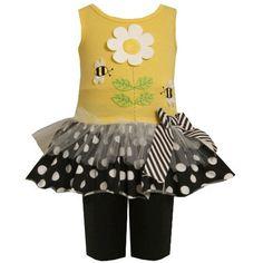 Bonnie Jean NEWBORN / INFANT 3M-24M 2-Piece YELLOW BLACK WHITE DAISY FLOWER BUMBLE BEE APPLIQUE Dress/Legging Set Bonnie Jean, http://www.amazon.com/dp/B008ZINW1I/ref=cm_sw_r_pi_dp_CPDmqb08968Z7