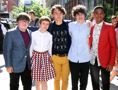 """New Trending Celebrity Looks: The Cast of """"IT"""" Showed Up in Their Finest at BUILD Series. """"IT"""" actors Jeremy Ray Taylor, Sophia Lillis, Wyatt Oleff, Finn Wolfhard, and Chosen Jacobs at BUILD Series in NYC. You might be forgiven for thinking this was the cast of Stranger Things, or even just a bunch of rich kids in nice clothes cosplaying as the cast of..."""