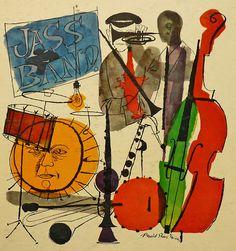 "Jass Band ""Removable"" Artwork from Grand Award GA-33-310. Illustration: David Stone Martin"
