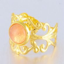 Vintage gold finger ring,polish gemstone hollow one stone ring(SWTPR1339)