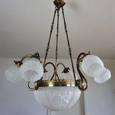 Grosse Jugendstil Deckenlampe Um 1920 Antik Kronleuchter Art Nouveau Chandelier