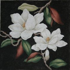 Kirk & Hamilton: Beautiful handpainted needlepoint canvases  magnolias all over ASC campus