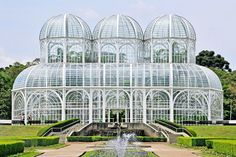 The greenhouses in the Botanical Garden of Curitiba in southern Brazil resemble the glass palaces of 19th-century France but were actually constructed by architect Abraão Assad in 1991.