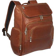 Piel Multi-Pocket Laptop Backpack - Saddle - via eBags.com!