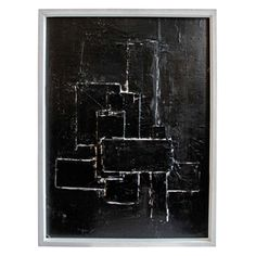 Textured Black Abstract With White Line by Marco Croce   From a unique collection of antique and modern paintings at https://www.1stdibs.com/furniture/wall-decorations/paintings/