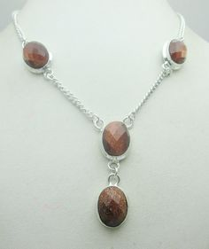 Silver Tone Metal Faceted Sun Star Stone Gemstone Necklace Jewelry Fine Quality NK_219 28 GM ready to ship