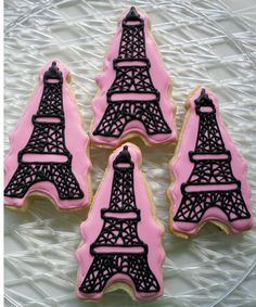 Eiffel Tower Cookies Baby Shower Birthday Party Favors Wedding Paris Chic