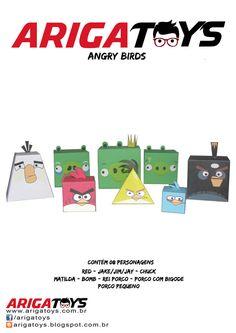 Kit Papercraft Angry Birds. Contém 8 personagens, sendo 1  folha por personagem. Papercraft fácil de montar!!! Apenas R$ 8,00!  www.facebook.com/arigatoys