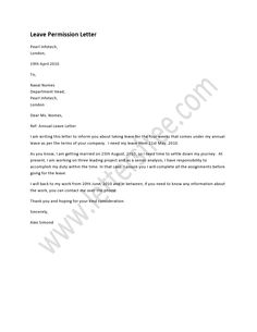 sample letter of permission