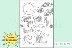 Cute Printable Page You Melt My Heart by SweetestChelle Planner Dashboard, Cute Planner, Cool Coloring Pages, Planner Inserts, Sloth, Some Fun, Cool Designs, How To Draw Hands, Printables