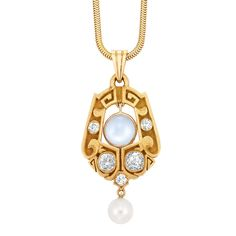 Arts and Crafts Gold, Diamond, Moonstone and Pearl Pendant with Gold Snake Chain  The stylized scrolled gold pendant centering one flexibly-set round moonstone approximately 7.2 mm., set with 4 cushion and old-mine cut diamonds approximately .90 ct., suspending one pearl approximately 6.8 mm., circa 1900, approximately 9.5 dwt. Length 15 1/2 inches.