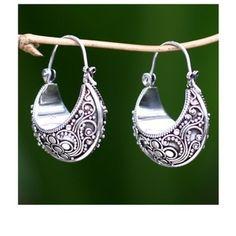 Handmade Sterling Silver 'Paradise' Hoop Earrings (Indonesia) | Overstock.com Shopping - The Best Deals on Earrings