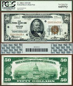1929 $50 Federal Reserve Bank Note FR-1880-G Chicago IL Heritage 4-2014 ULPLR