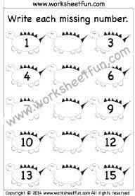 Missing Numbers – 1-15 – Three Worksheets