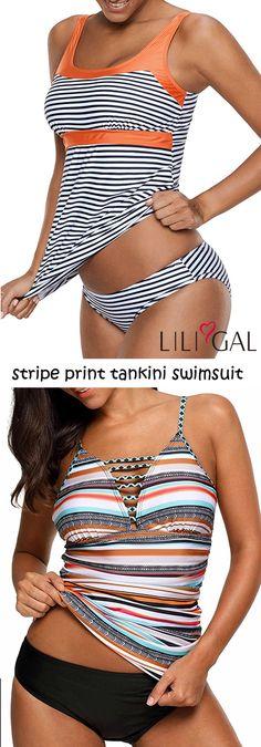 Padded Stripe Print Tankini Swimsuit, features stripe print,  padded, tankini top and panty.    #liligal #swimwear #swimsuit