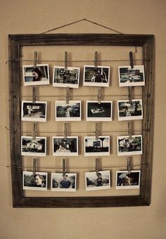 DIY frame with multiple photos hanging from wire and close pins