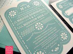 Papel picado wedding invitation set in aqua by citlali on Etsy, $2.00 each.