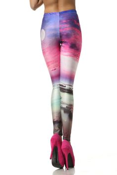 Women Leggings Stretch High Waist Luxurious Galaxy Print Stockings Tight