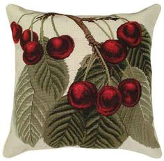 9 Red Cherries Needlepoint Pillow buy at Snugglebug Pillows and Throws www.snugglebugpillowsandthrows.com