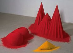 ANISH KAPOOR: As if to Celebrate, I Discovered a Mountain Blooming with Red Flowers, 1981 - Pigments, wood and plaster - Tate Gallery Anish Kapoor, Contemporary Sculpture, Contemporary Art, Modern Art, Tate Gallery, Colored Sand, Land Art, Conceptual Art, Community Art