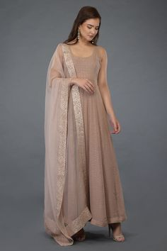 Gota patti Anarkali pink suite in Oyster dupat Indian Gowns Dresses, Pakistani Dresses, Indian Dresses For Women, Indian Wedding Outfits, Indian Outfits, Indian Weddings, Simple Anarkali Suits, Bridal Anarkali Suits, Designer Anarkali Dresses