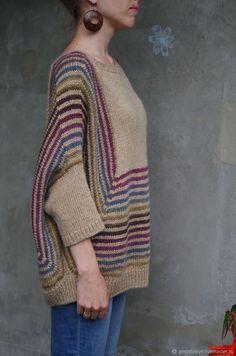 """Купить Бохо-пуловер - пончо без швов """"Удовольствие-беж"""" - нежность, полоски, пончо, стильный"""