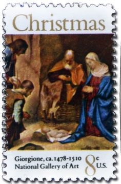 Day 10 –   The 1971 religious is a manger scene by Giorgione.  He, along with Titan, founded distinctive Venetian school of Italian Renaissance painting.  Giorgione died in his early 30s………   1971 – The Allendale Nativity/Adoration of the Shepherds, by Giorgione.… Merry Christmas from World Stamp Show-NY2016 – Click here to see the full painting – it is quite beautiful.  http://en.wikipedia.org/wiki/File:The_Adoration_of_the_Shepherds_-_Giorgione_-_1505_NG_Wash_DC.jpg