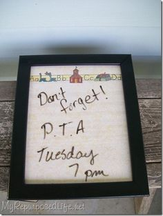 Scrapbook paper in a cheap frame for instant dry erase board