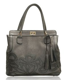 Another great find on #zulily! Gray Floral Tassel Tote by Segolene Paris #zulilyfinds