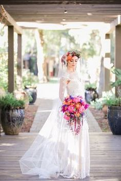 Bouquet by MFG Florals & Design with Kristene wedding dress by Claire Pettibone, Photo: Sweet Blooms Photography https://couture.clairepettibone.com/collections/continuing-collection/products/kristene
