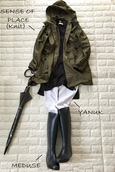 Rain Day Outfits, Winter Outfits, Casual Wear, Casual Outfits, Clothing Displays, Fashion Beauty, Womens Fashion, Japanese Fashion, Outfit Of The Day