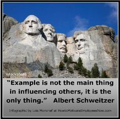 Motivational Quotation by Albert Schweitzer on how leadership by example is powerful employee motivation. Employees will follow your work ethic and behavior. Link to article on how 2 great leaders influence and motivate followers.