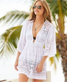 Dotti Lasercut V-Neck Kimono Cover Up - Swimwear - Women - Macy's