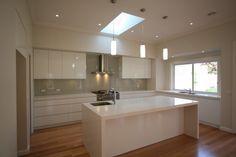 White cupboards with greyish splashback - Beige Royal (Dulux) on Starfire glass