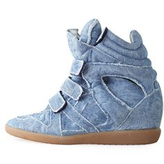 85e52f88cff0 Isabel Marant Balesi Velcro Denim Sneaker ( 640) ❤ liked on Polyvore  featuring shoes