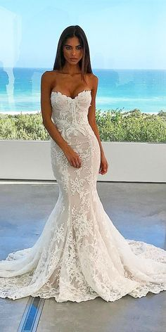 mermaid sweetheart lace bridal dresses for destination wedding