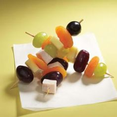 Quick Kebabs made with cubed cheese, deli turkey and fruit make a healthy and satisfying snack.