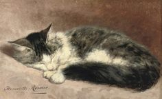 Henriette Ronner-Knip (Dutch, 1821 - 1909): Taking a nap (via Christie's)
