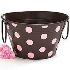 Large Brown with Pink Polka Dots Tin Tub Polka Dot Art, Pink Polka Dots, Dot Dot, Tin Tub, Deco Rose, Pink Chocolate, Pink Themes, Connect The Dots, Everything Pink