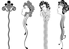 Art nouveau female head and stylised flower elongated /pin ornament