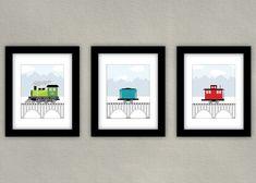 Train Art Kids Room Decor Print Set- Little boy wall art - by SlightlySprightly