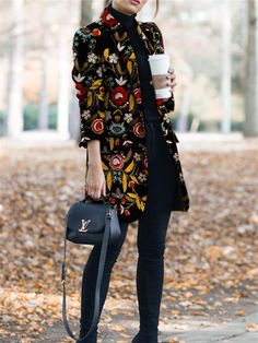 Autumn And Winter Fashion Printed Long-Sleeved Suit Jacket&Cardigan Herbst- und Wintermode Bedruckte Langarm-Anzugjacke und Strickjacke Black Women Fashion, Look Fashion, Autumn Fashion, Fashion Outfits, Womens Fashion, Fashion Ideas, Trendy Fashion, Cheap Fashion, Latest Fashion